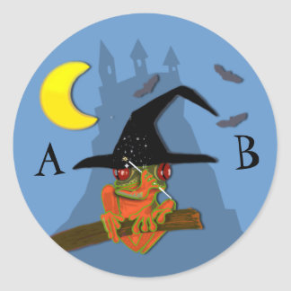 Froggy witch casts a spell classic round sticker