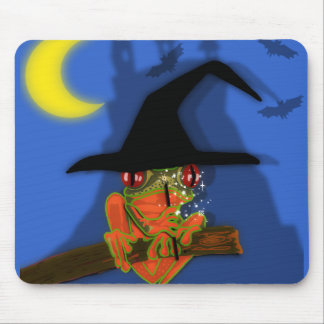 Froggy witch casts a spell mouse pad