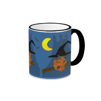 Froggy witch casts a spell ringer coffee mug