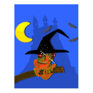 Froggy witch casts a spell postcard