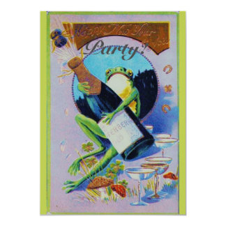 Froggy with Champagne Bottle New Year's Eve Party 5x7 Paper Invitation Card