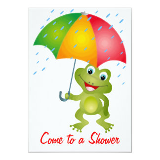 Froggy with Rain Umbrella Shower Invitation