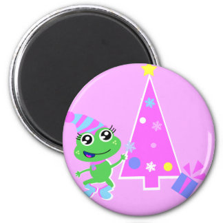 froggy with tree screen 2 inch round magnet