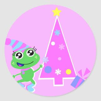 froggy with tree screen classic round sticker