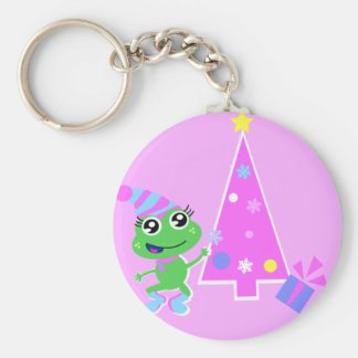 froggy with tree screen basic round button keychain