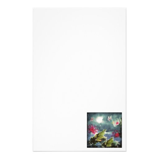 Frogs and Flowers Stationery Paper