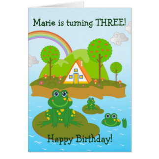Frogs  and Happy Birthday wishes Greeting Cards