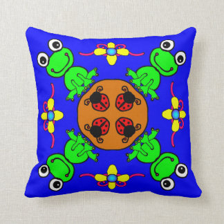 Frogs and Lady Bugs Throw Pillow