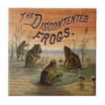 Frogs and Lily Pads Vintage Small Square Tile