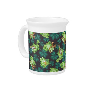 Frogs and Shamrocks Beverage Pitcher