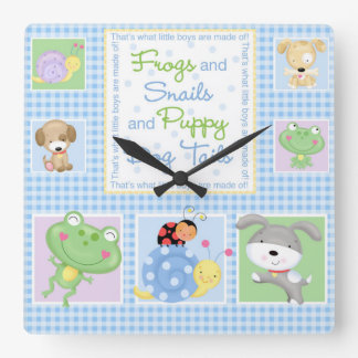 Frogs and Snails Baby Wall Clock
