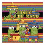 "Frogs Cinco de Mayo Custom  Birthday Invitations 5.25"" Square Invitation Card"