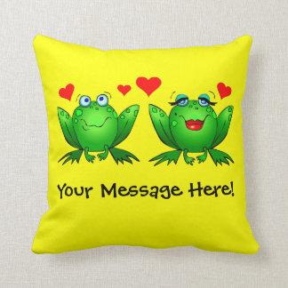 Frogs Cute Cartoon Love Hearts Yellow Throw Pillow