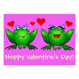 Frogs Cute Happy Hoppy Valentines Greeting Card