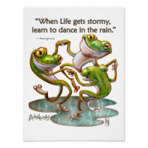 Frogs Dancing in Rain With Quote Art Print Poster