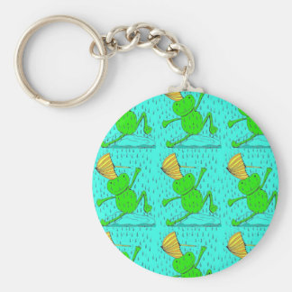 Frogs Dancing in the Rain Keychain
