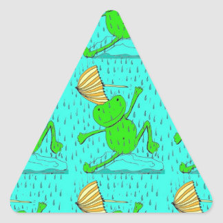 Frogs Dancing in the Rain Triangle Sticker
