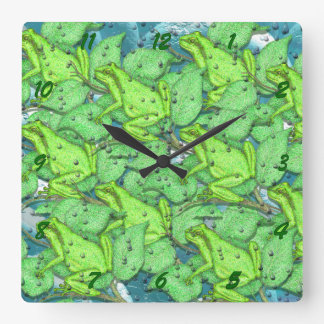 frogs, frogs, frogs square wall clock