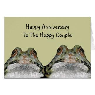 Frogs, Hoppy Couple: Happy Anniversary: Art Greeting Card