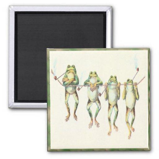Frogs in a Line Fridge Magnet