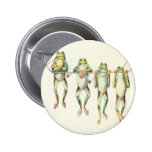 Frogs in a Line Pinback Button