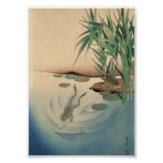 Frogs in a Pond, Japanese Art circa 1800s Poster