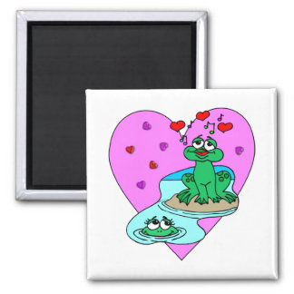Frogs In Love 2 Inch Square Magnet