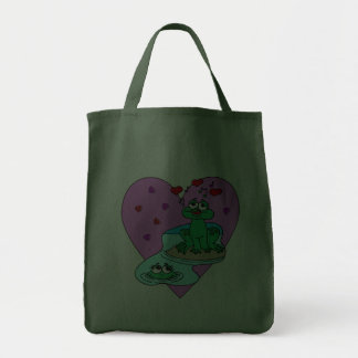 Frogs In Love Grocery Tote Bag
