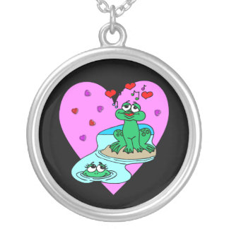 Frogs In Love Round Pendant Necklace