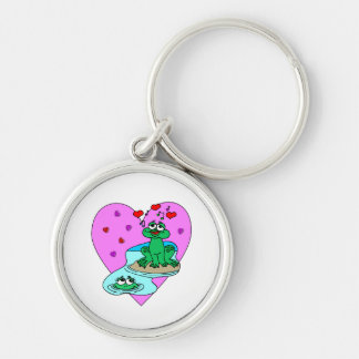 Frogs In Love Silver-Colored Round Keychain