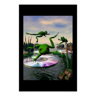 Frogs Jumping on CD Lily Pads Posters