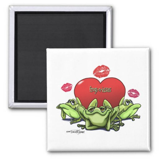 Frogs & Kisses - Valentine 2 Inch Square Magnet