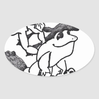 Frogs Leaping Oval Stickers