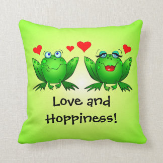Frogs Love and Hoppiness Hearts Cartoon Green Throw Pillow