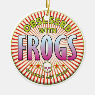 Frogs Obsessed R Double-Sided Ceramic Round Christmas Ornament