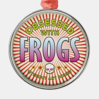 Frogs Obsessed R Round Metal Christmas Ornament