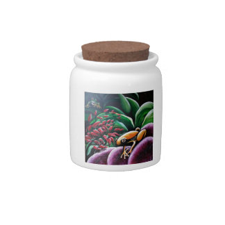 Frogs on Garden Leaves Candy Jar