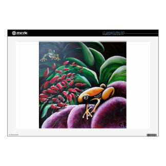 Frogs on Garden Leaves Decal For Laptop