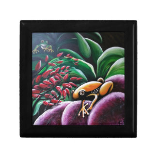 Frogs on Garden Leaves Jewelry Box