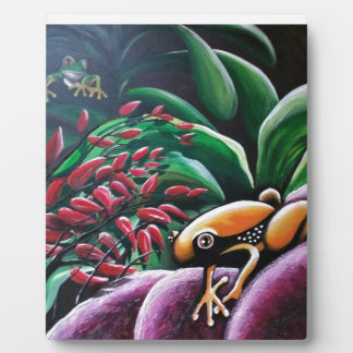 Frogs on Garden Leaves Plaque