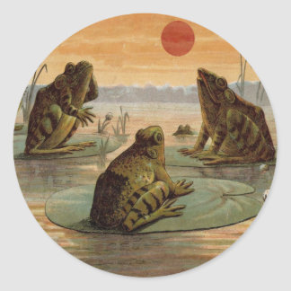 Frogs on Lily pads Vintage Classic Round Sticker