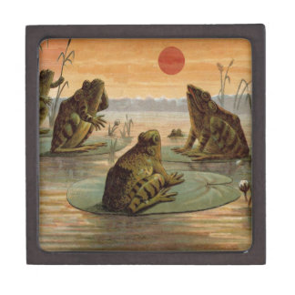 Frogs on Lily pads Vintage Gift Box