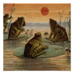 Frogs on Lily pads Vintage Print