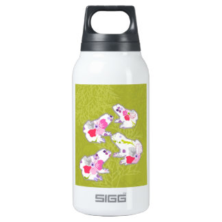 Frogs on pastel green background. insulated water bottle