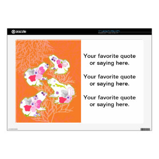 "Frogs on pastel orange background. 17"" laptop skins"