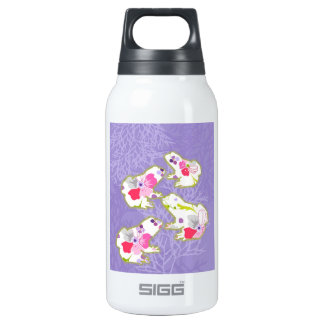 Frogs on pastel violet background. insulated water bottle