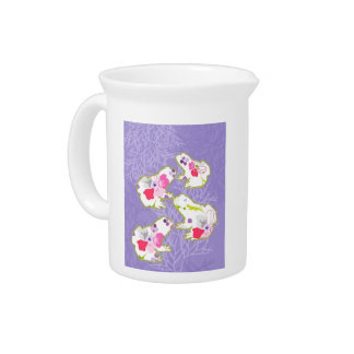 Frogs on pastel violet background pitchers
