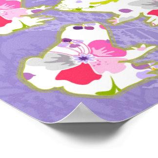 Frogs on pastel violet background poster