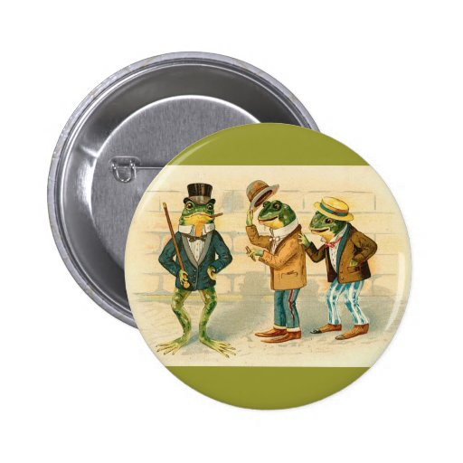 Frogs on the Street 2 Inch Round Button