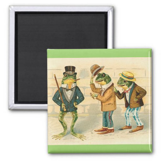 Frogs on the Street 2 Inch Square Magnet